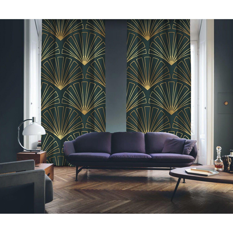 Art Deco No 3 Gold Light Dark Green 2 Panel Curtain Gold Living Room Decor Art Deco Living Room Green Bedroom Walls