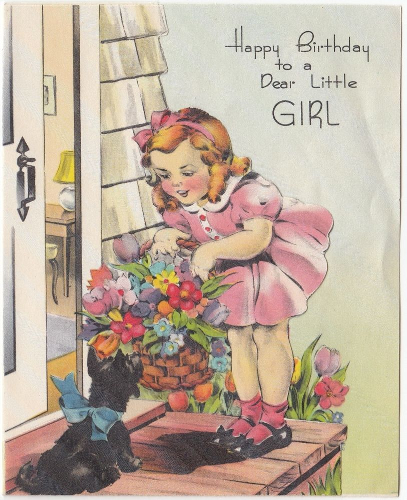 Vintage Greeting Card Cute Little Girl Scotty Dog Birthday 1940s Flowers J946 Vintage Greeting Cards Vintage Birthday Cards Old Cards