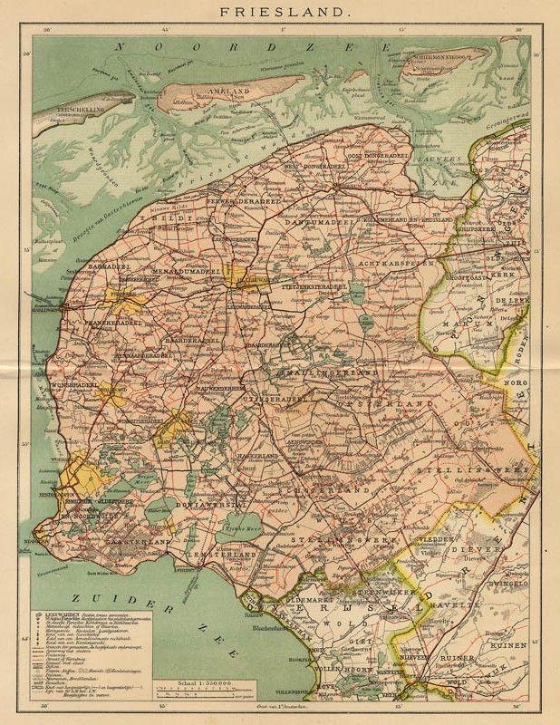 Friesland, een antieke kaart van Friesland door Winkler Prins uit 1907