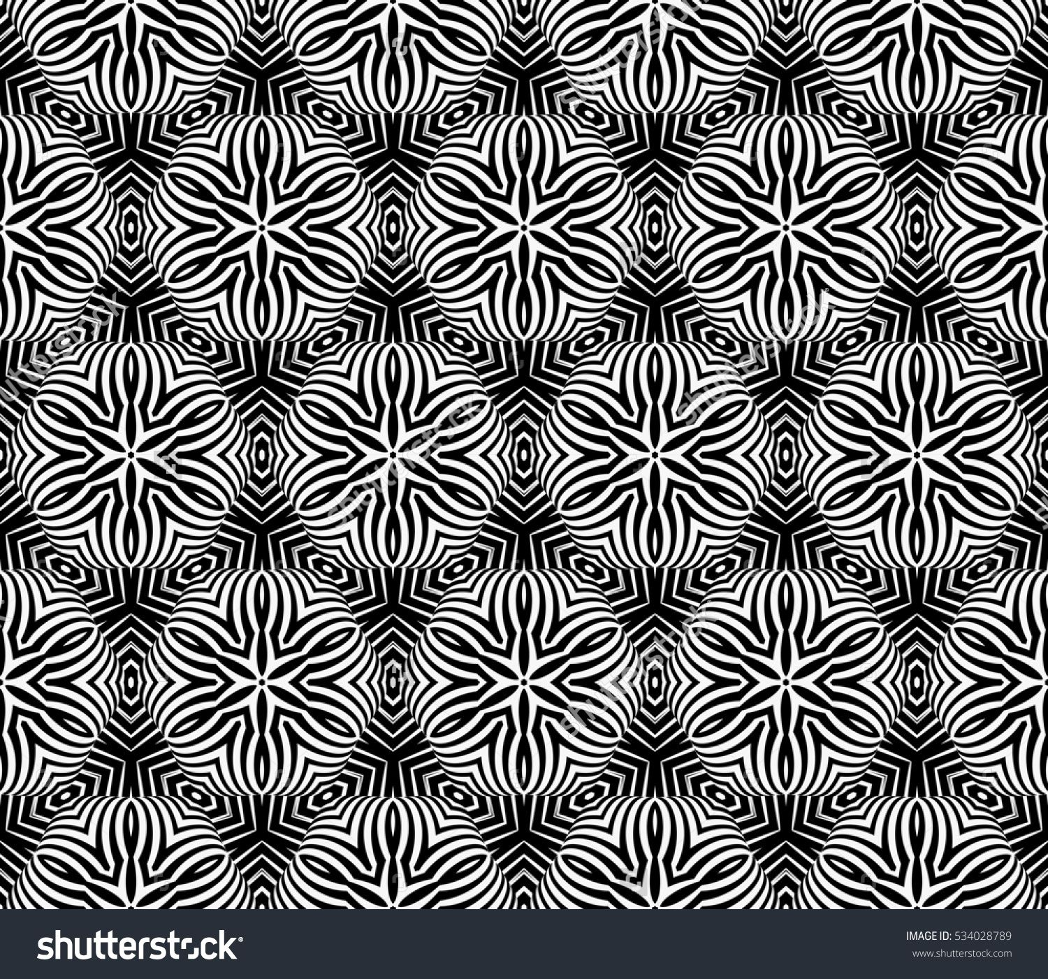 Volume seamless pattern of abstract floral ornament raster copy