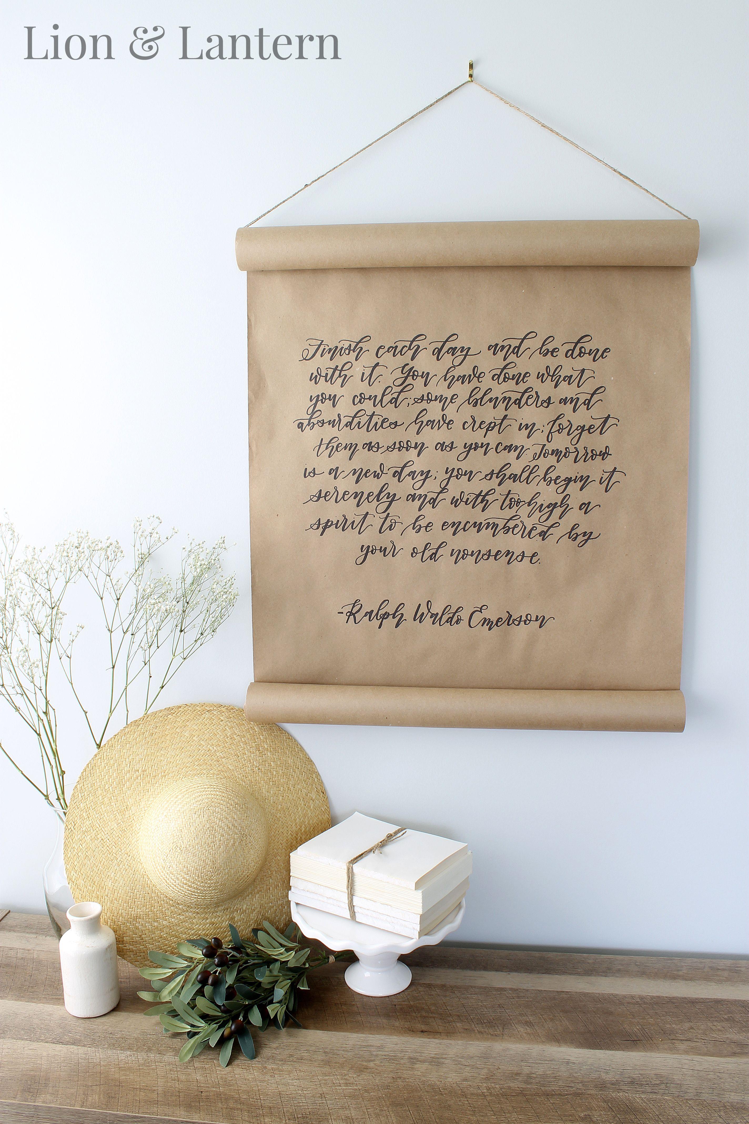 Coastal Farmhouse Dining Room At LionAndLantern Calligraphy Scroll Art Quote