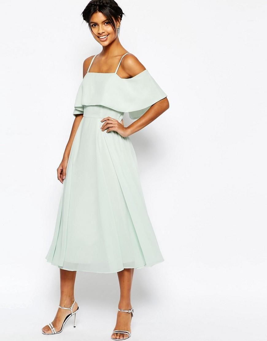 Asos Asos Cold Shoulder Midi Dress At Asos Clothes Pinterest