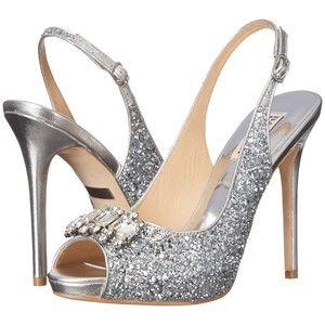 Womens Shoes Badgley Mischka Adore Silver Glitter Fabric/Metallic