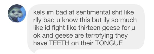 I literally scream about geese teeth twice a day