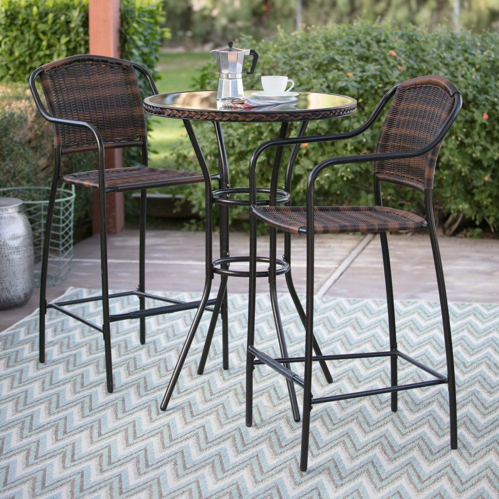 Coral Coast Santa Cruz Bar Height Bistro Set Bistro Set Outdoor Pub Table Affordable Outdoor Furniture