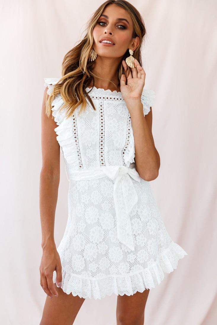 Prairie Crochet Frill Dress White White Short Dress Cute White Dress White Dresses Graduation [ 1100 x 733 Pixel ]