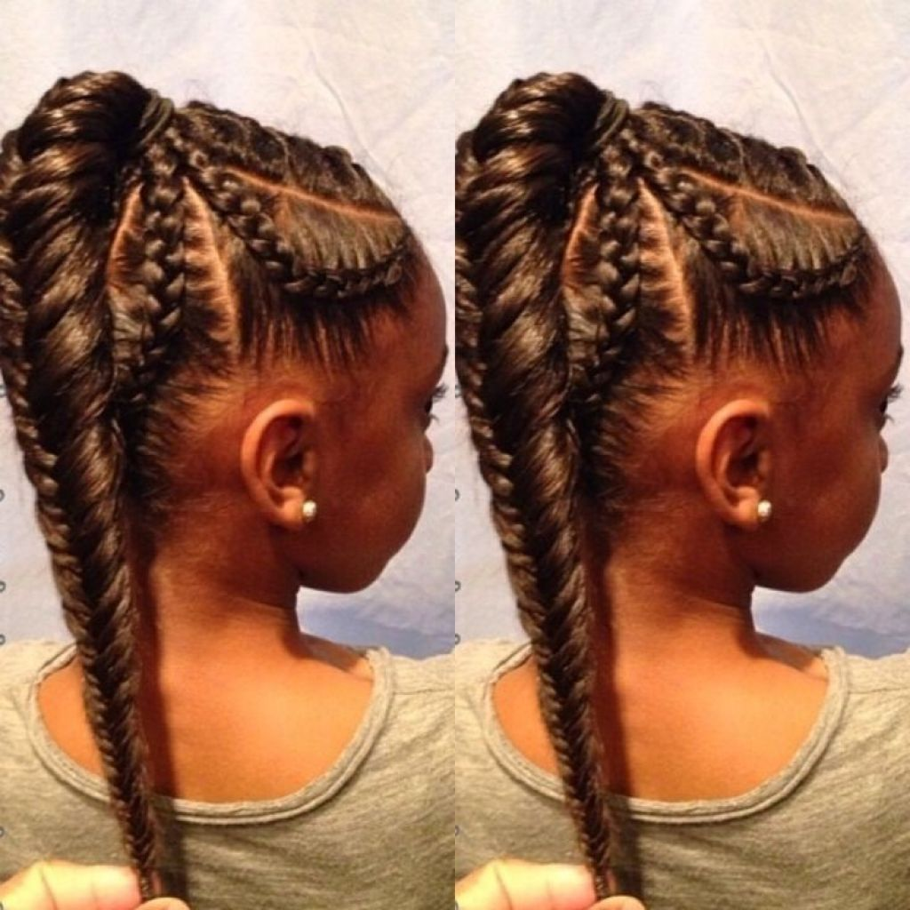 African American Braids Fishtail Braid Hairstyle For Kids ...
