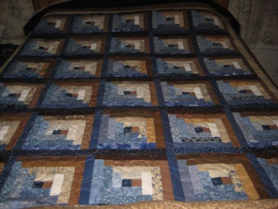 Log Cabin Quilt Brown And Blue Quilt Queen Size Log Cabin Quilt