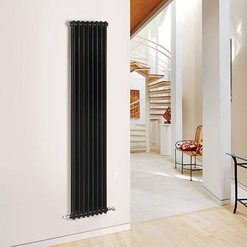 hudson reed radiateur style fonte vertical laqu noir 1800. Black Bedroom Furniture Sets. Home Design Ideas