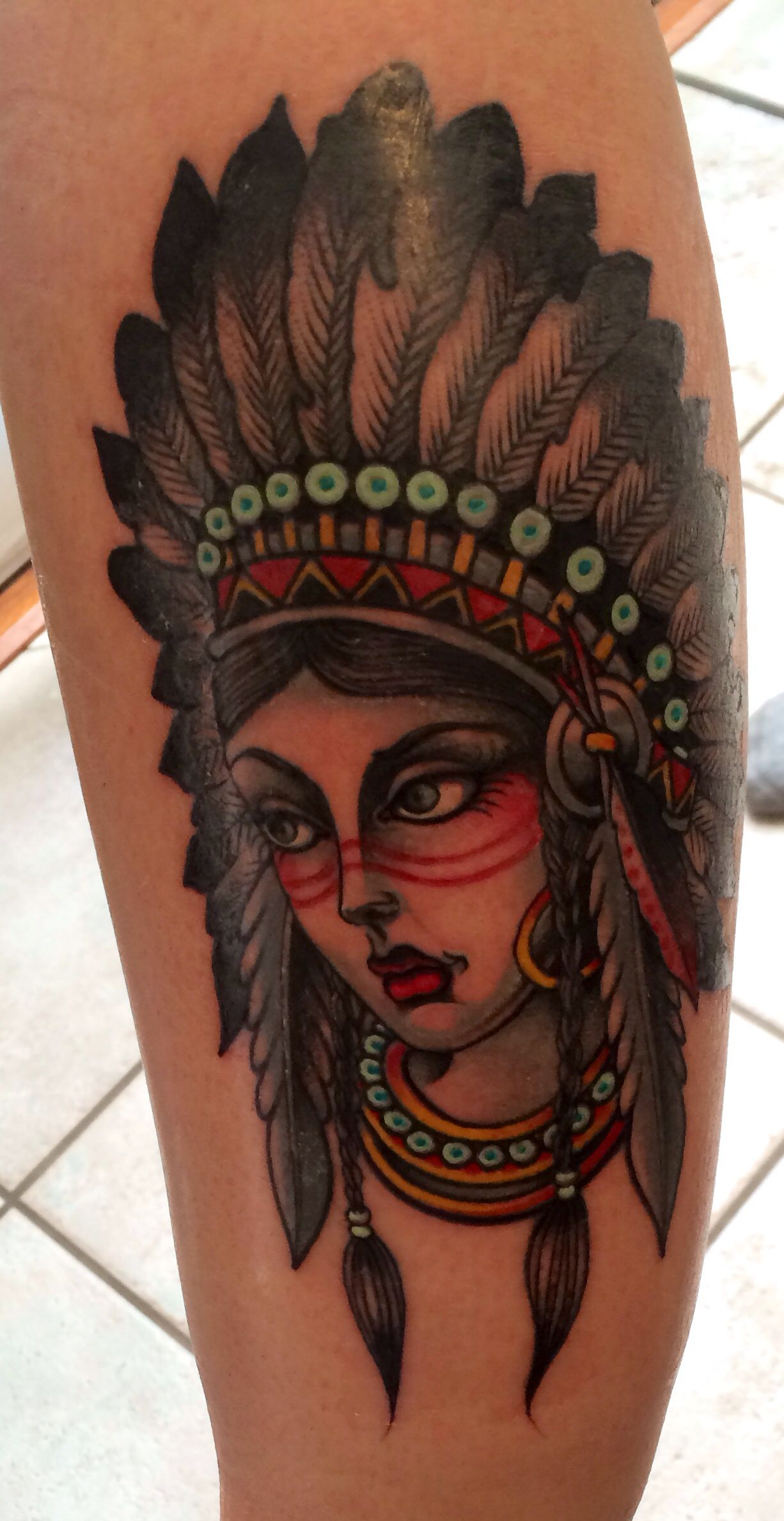 Indian girl tattoo beautifully created by an artist in