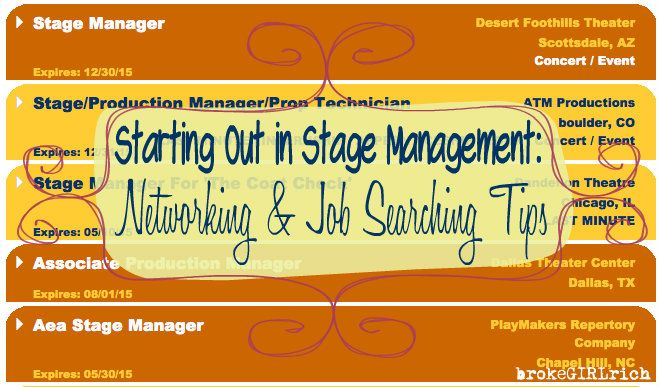 Starting Out in Stage Management Networking  Job Searching Tips