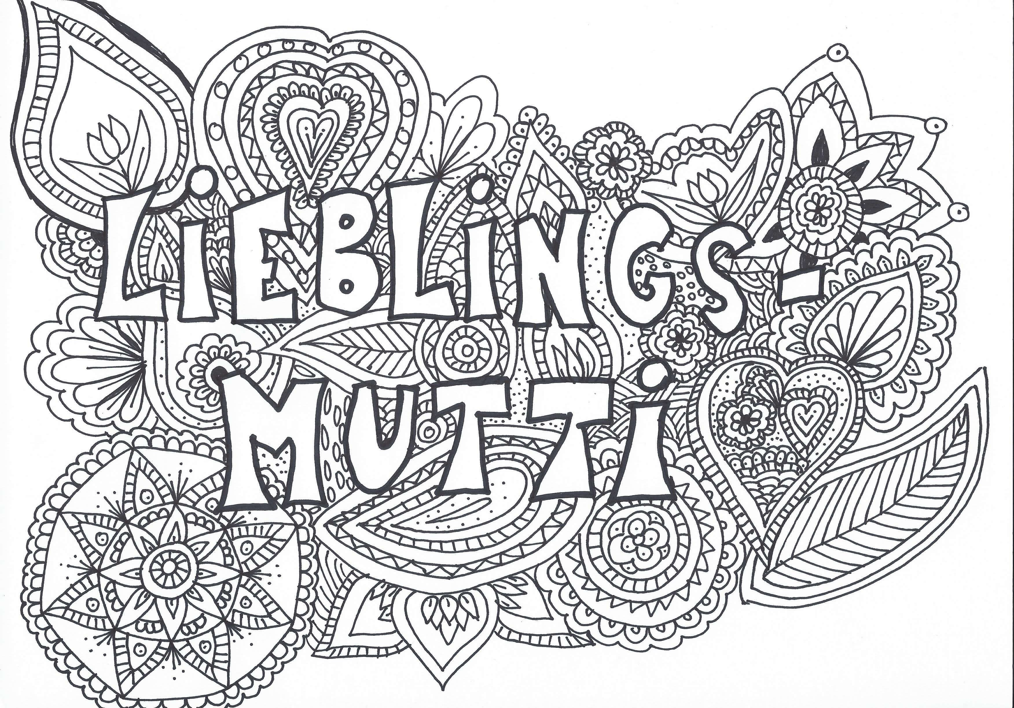 "Mandala Muttertag ""Lieblingsmutti"" Speed Drawing + Malvorlage ..."