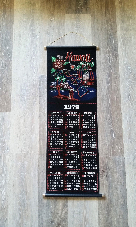 Vintage 1979 Hawaii Wall Hanging 1979 Hawaiian Wall Calendar