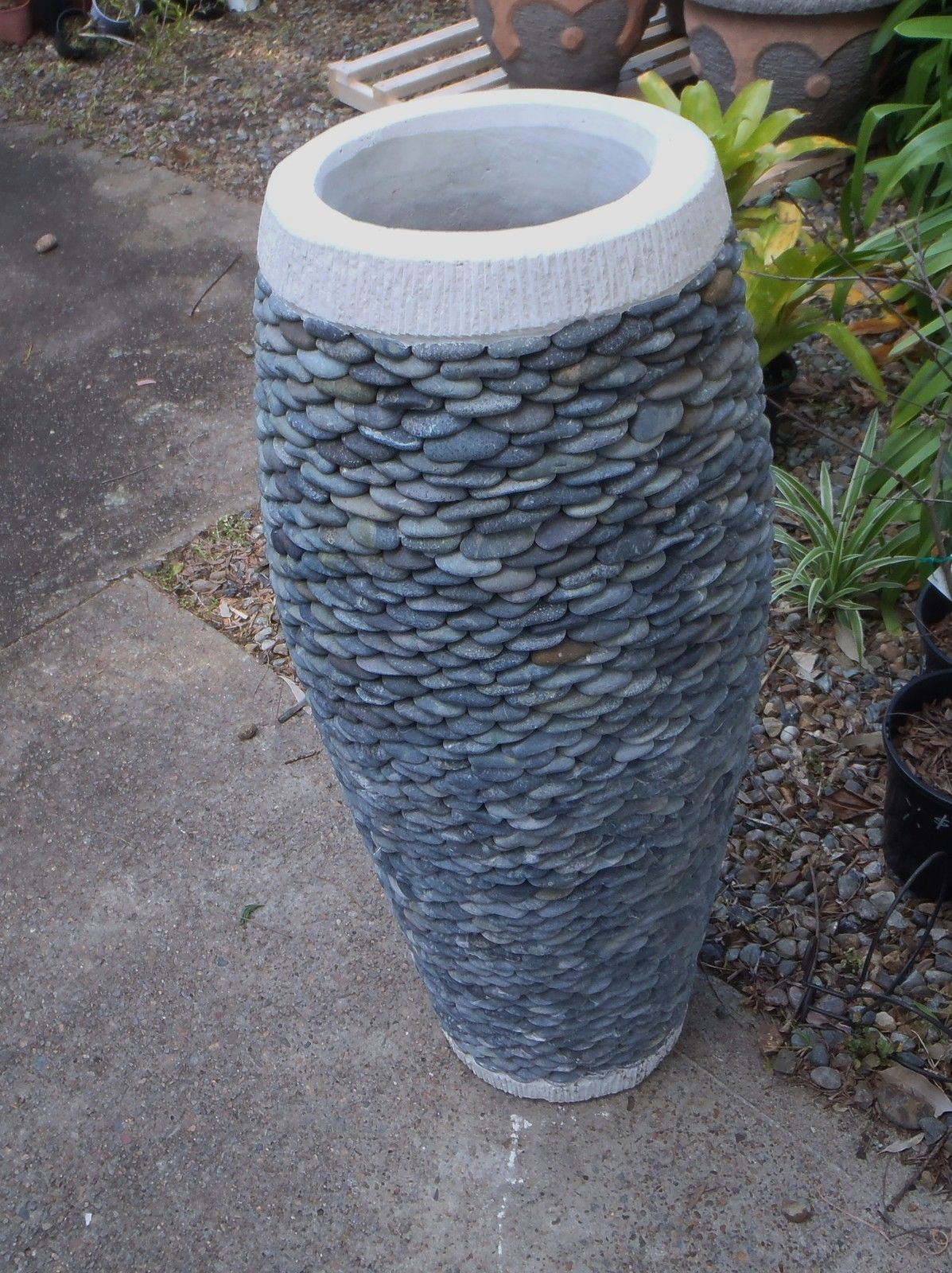 Balinese Unique River Stone Stacked ON Concrete Large 1M POT | eBay ...