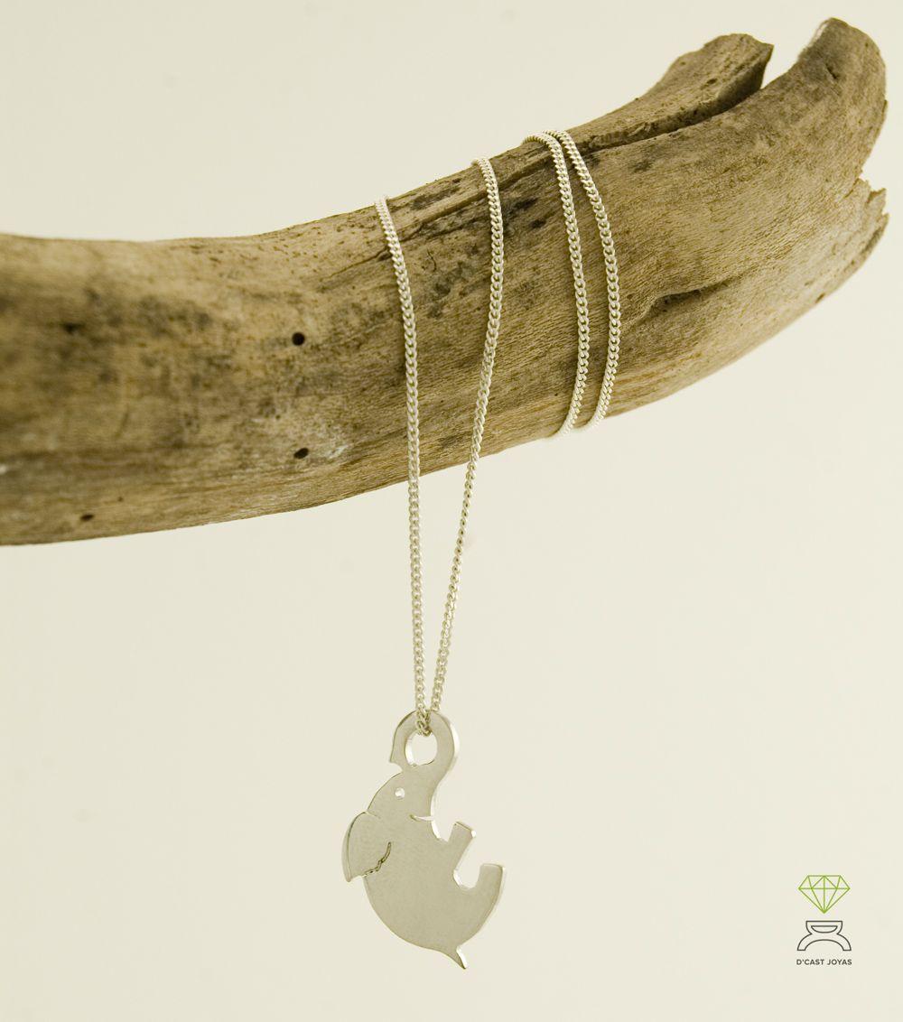 colgante plata de ley elefante