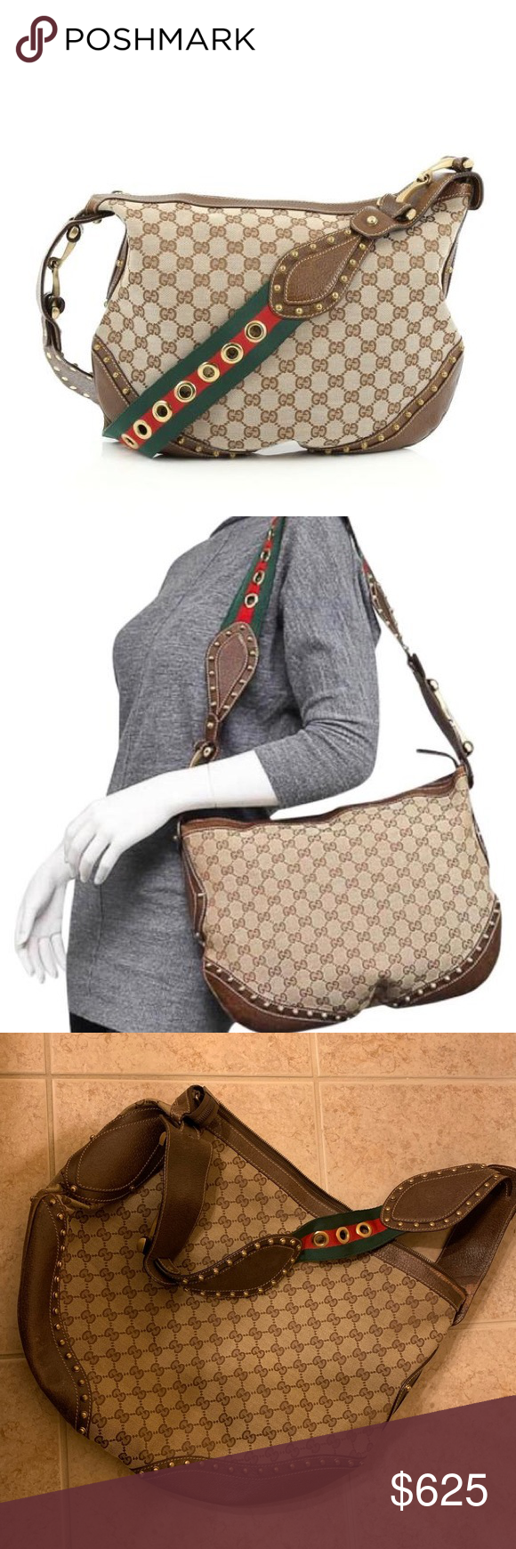 dbb51efd752c Gucci Pelham Monogram Studded Canvas Hobo Bag 100% Authentic Gucci GG  canvas Pelham messenger with