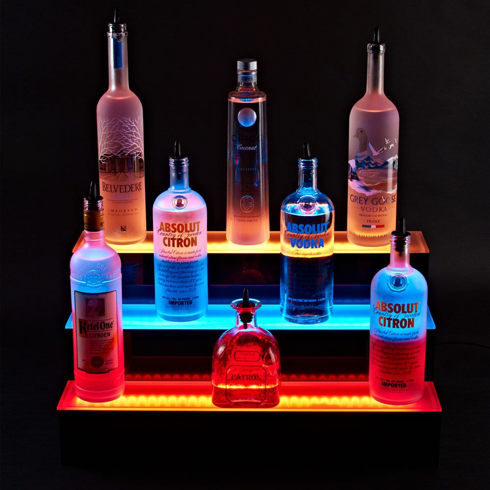 Illuminate 3 tier led bar shelf liquor shelves and bottle illuminate your refined taste taste in whiskeys vodkas and rums with our light up liquor shelf featuring an enormous 3 tier design that accommodates mozeypictures Gallery