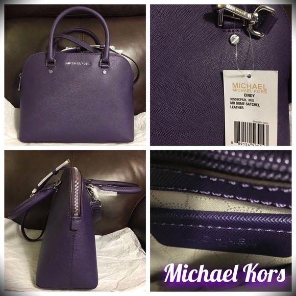 58c1a9b4a590 MICHAEL KORS CINDY MEDIUM DOME PURSE IRIS PURPLE BRAND NEW WITH TAGS  MICHAEL KORS Cindy Medium Dome Satchel Purse! Color  Iris   Purple!  BEAUTIFUL BAG WOULD ...