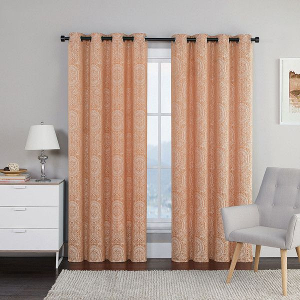 Utopia Jacquard Grommet-Top 2-Pack Curtain Panels ($48) ❤ liked on Polyvore featuring home, home decor, window treatments, curtains, jacquard curtains, jacquard curtain panel, grommet draperies, grommet curtain panels and grommet window panels