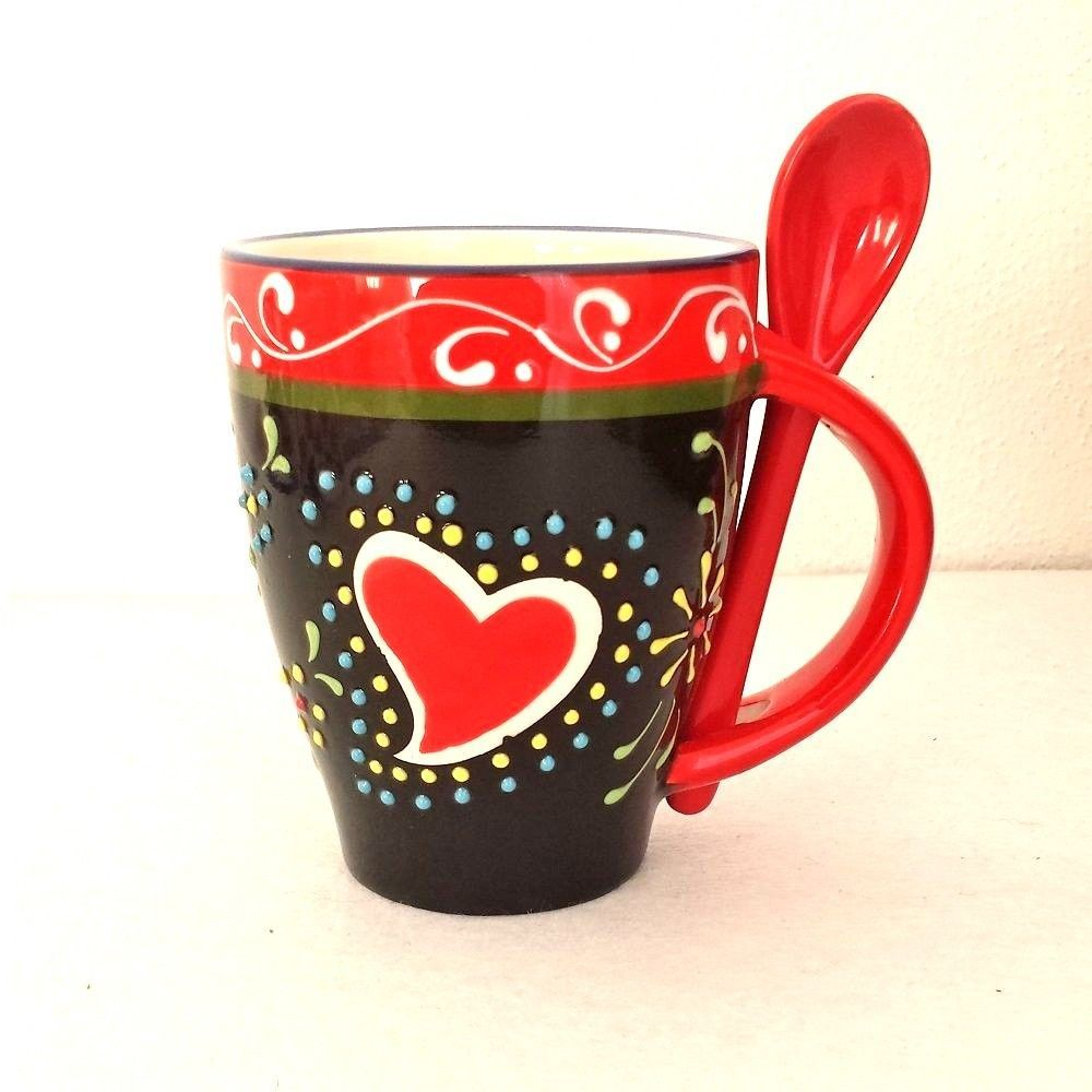 Beautiful Heart Love Coffee Tea Mug With Spoon Ceramic Souvenir 250ml 8 5 Oz Tea Mugs Mugs Beautiful Heart