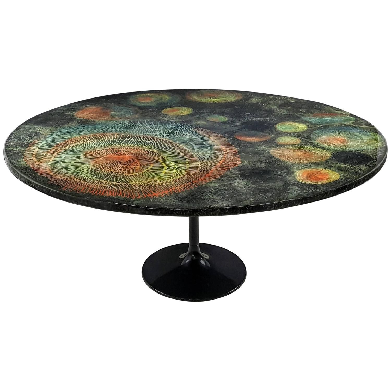 Large Round Madrepore Dining Table By Piero Fornasetti Early And Rare 1950s