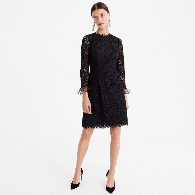 J Crew Long Sleeve Lace Dress Black