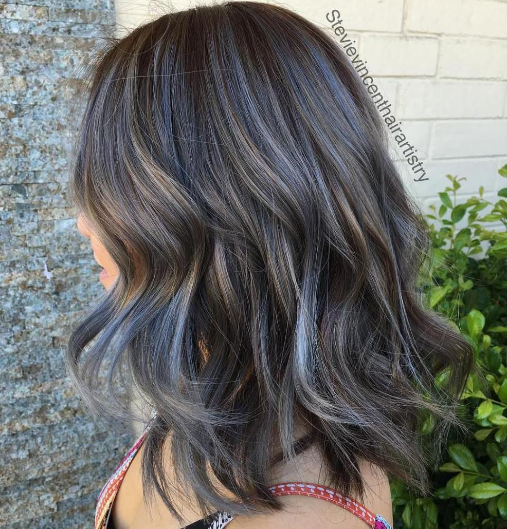 Medium Brown Hair With Gray Highlights Blue Brown Hair Transition To Gray Hair Blue Grey Hair