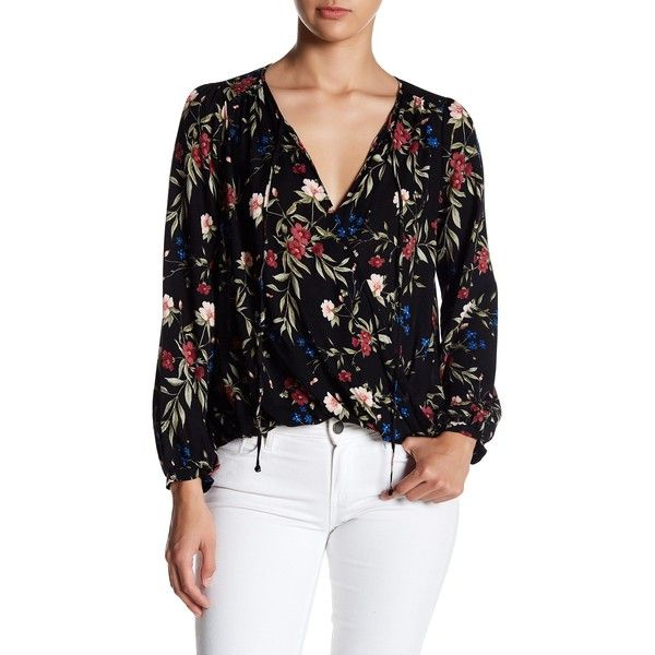 Lush Surplice Blouse ($25) ❤ liked on Polyvore featuring tops, blouses, long length tops, surplice top, long tops, tie-neck blouses and long blouse