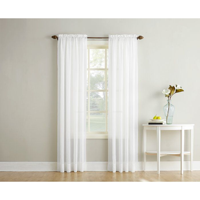 Emily Solid Color Sheer Rod Pocket Window Single Curtain Panel