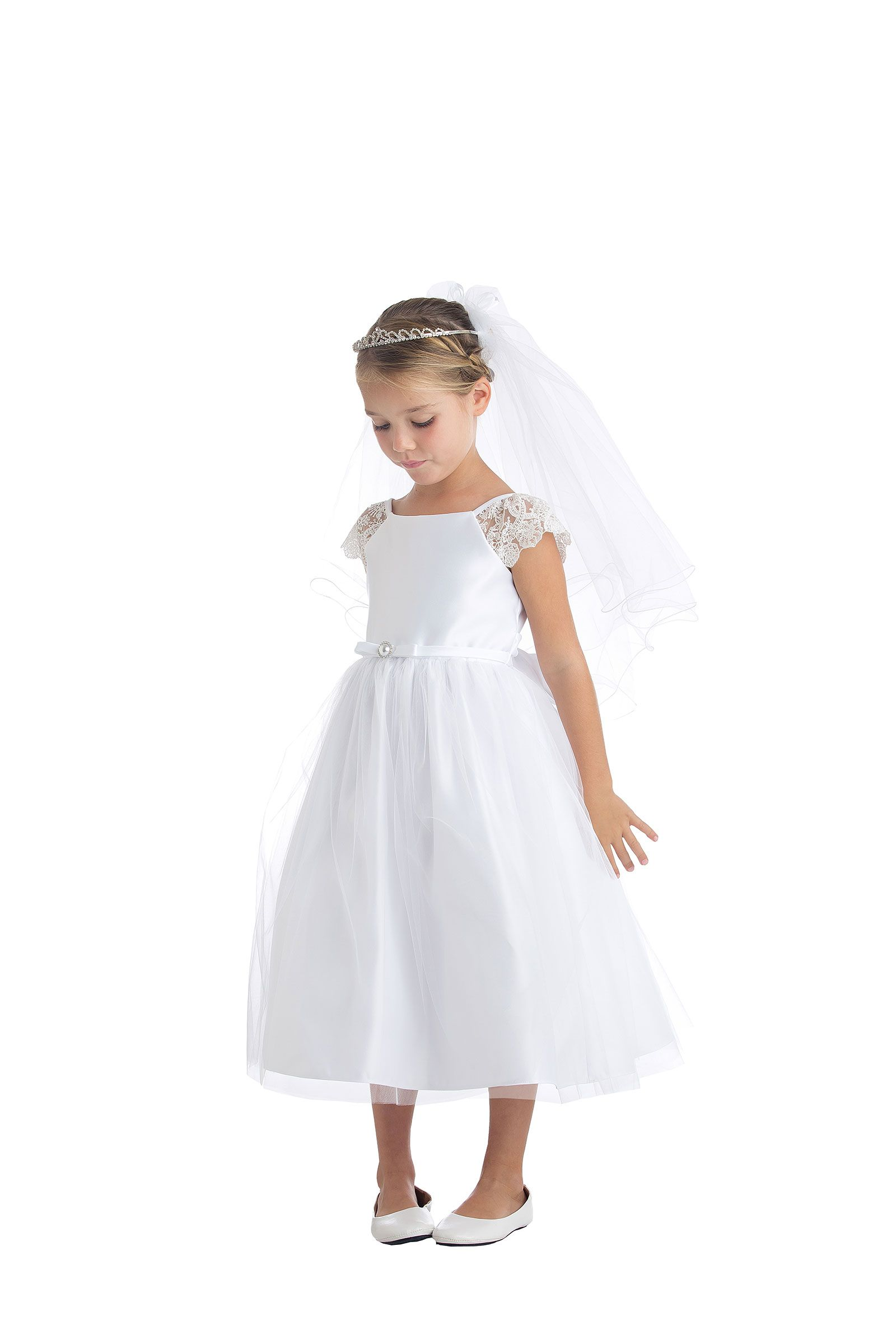 Girls Dress Style 621 White Cap Sleeve Satin And Lace Dress White Flower Girl Dresses First Communion Dresses Girls Communion Dresses [ 2400 x 1600 Pixel ]