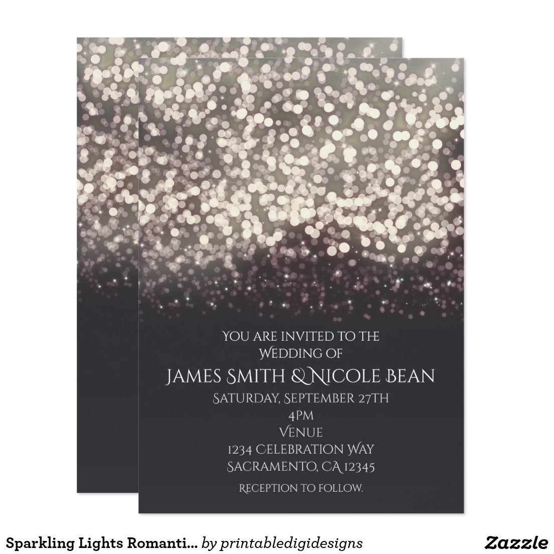 Sparkling Lights Romantic Modern Grey Wedding Card Wedding