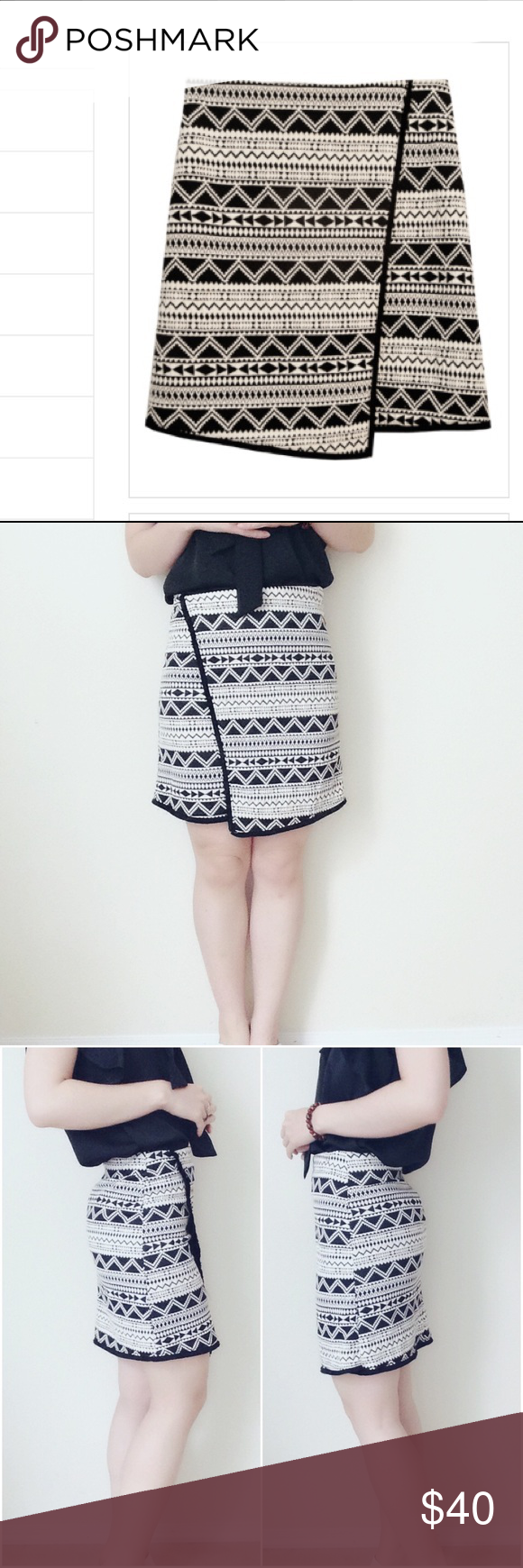"""Black/natural Aztec pattern mini wrap skirt Elegant knitting mini wrap skirt! Lightweight. Natural with black Aztec pattern. Made in USA. True to size (model size S, wearing S, 5'5"""") 🚫no trade Potter's Pot Skirts Mini"""