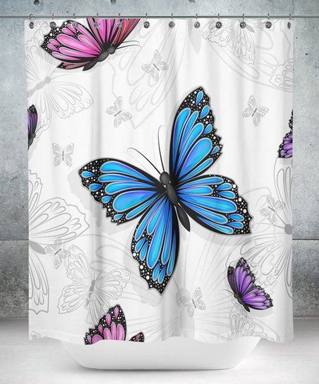 Carsberg Home White Blue Butterfly Shower Curtain