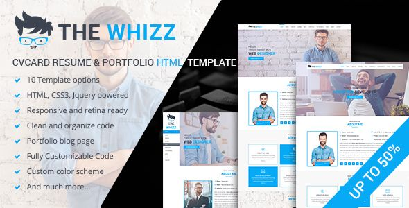 The Whizz  Personal Vcard Resume Html Template  Website