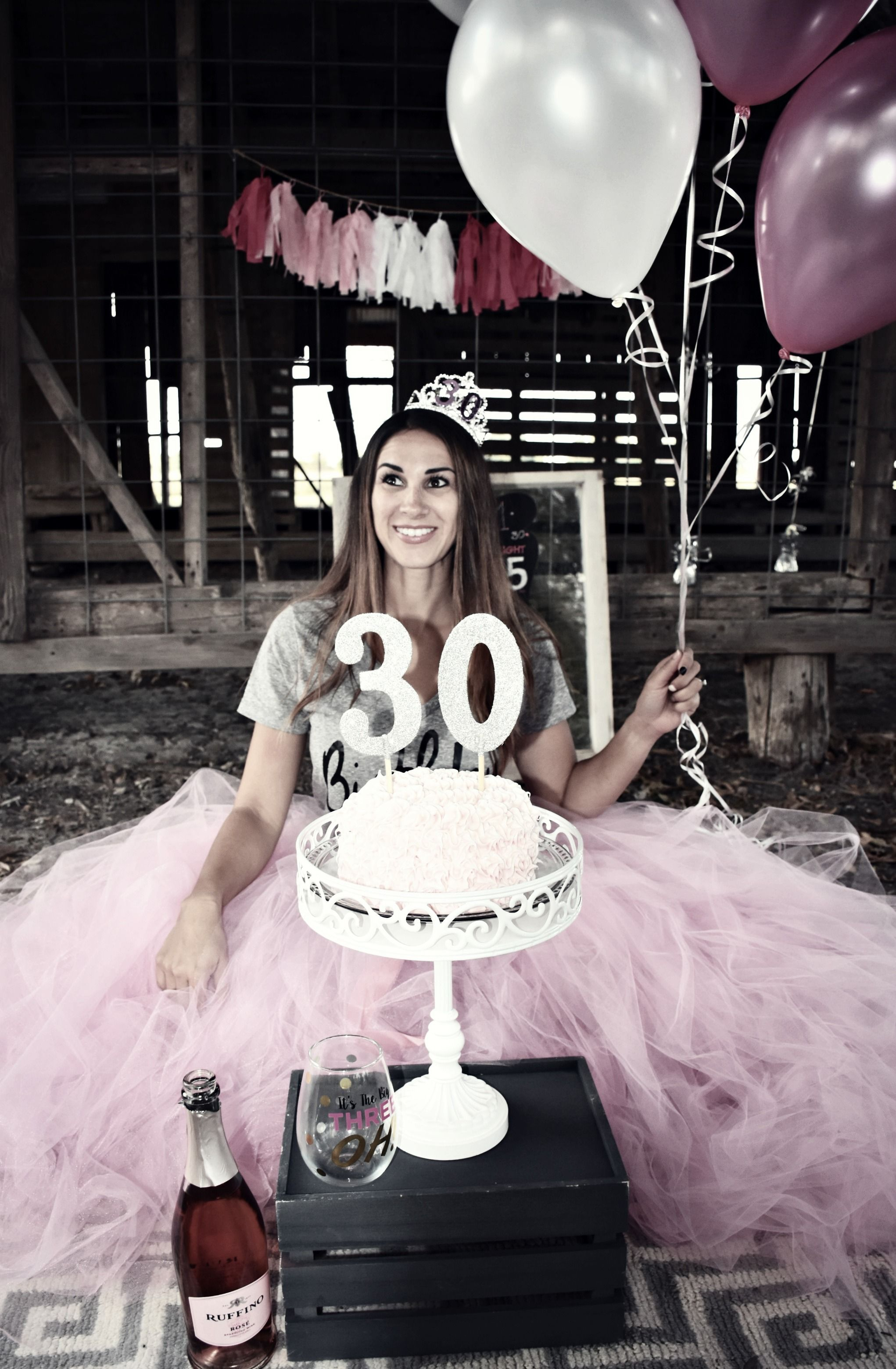 30th Smash Cake & Champagne Pretty in Pink, Happy Birthday