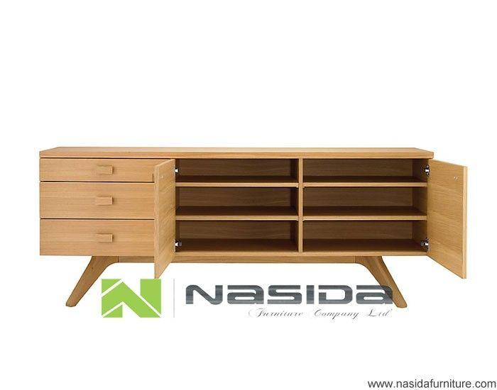 ND520 ash wooden Cross Credenza ash sideboard Storage