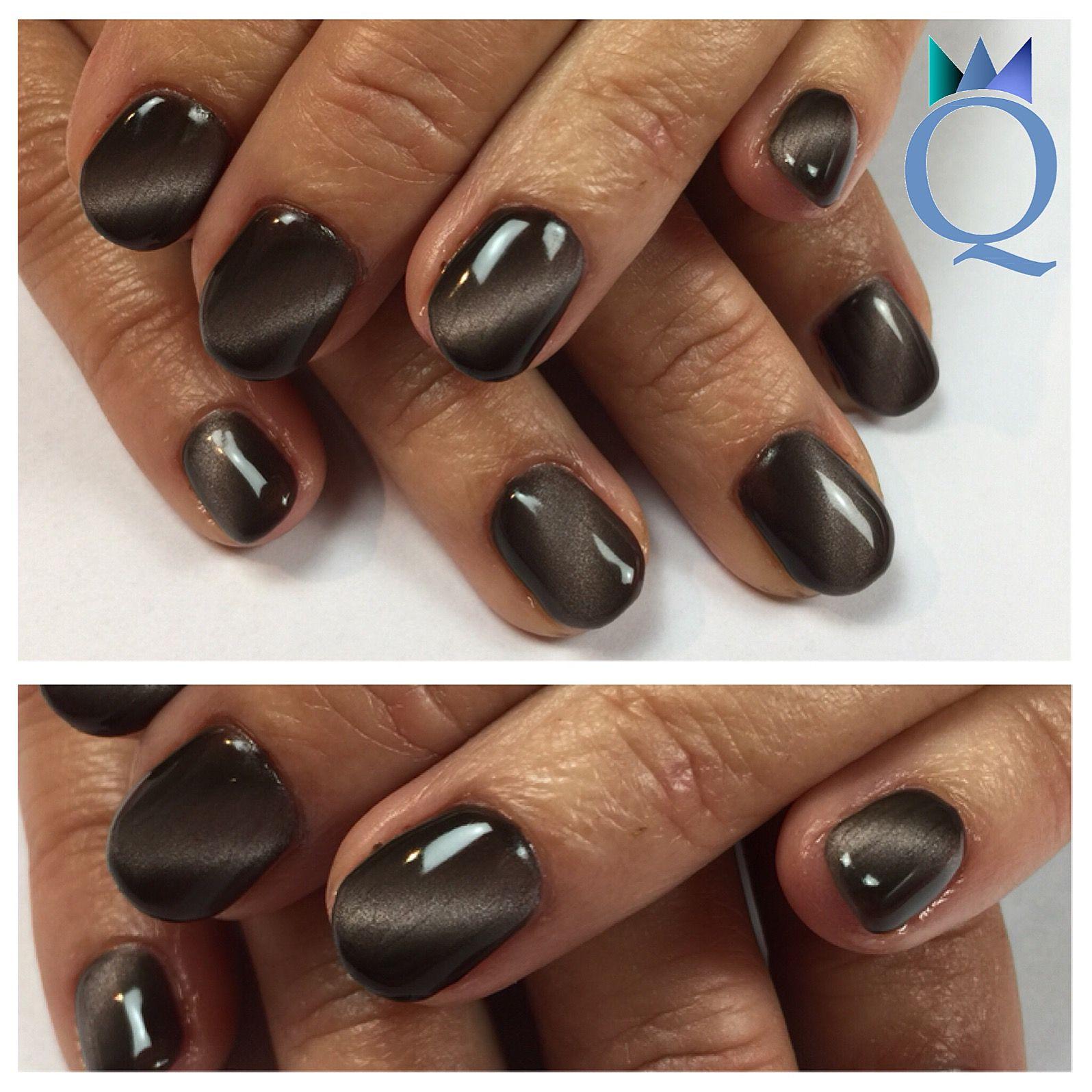 Shortnails Gelnails Nails Brown Cateye Kurzenagel Gelnagel