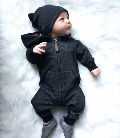 Baby Kids Boys Girls Warm Hooded Long Sleeve Romper Jumpsuit Bodysuit Clothes