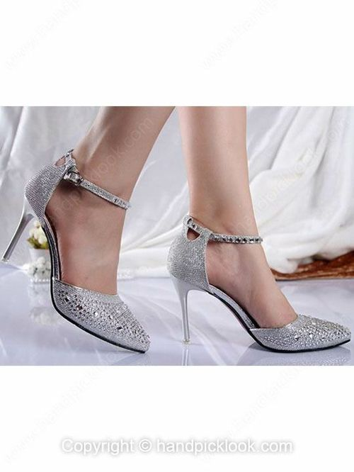22009e6aa11 Silver Leatherette Women s Stiletto Heel Closed Toe Sandals With Buckle  Shoes - HandpickLook.com