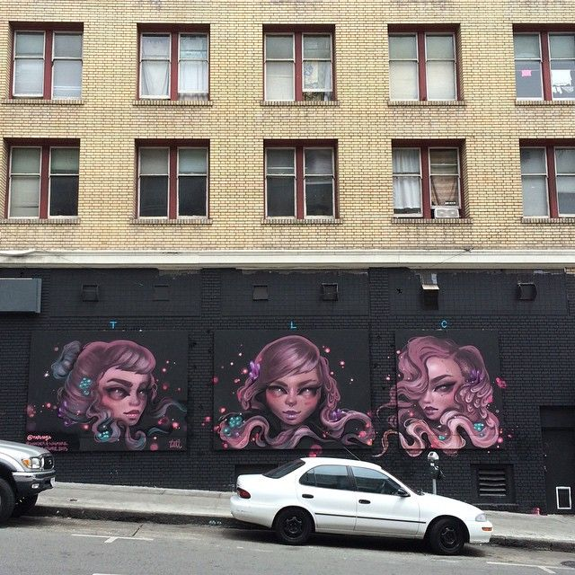 My final mural in SF! Dedicated to the amazing / talented - crazy, sexy, cool ladies I had the honor to work/bond with all month - @lolo_ys & @caratoes TLC foreva! #TatiLaurenCara #TenderLoinChics #WanderAndWayfare #LuggageStore #NTLCRU