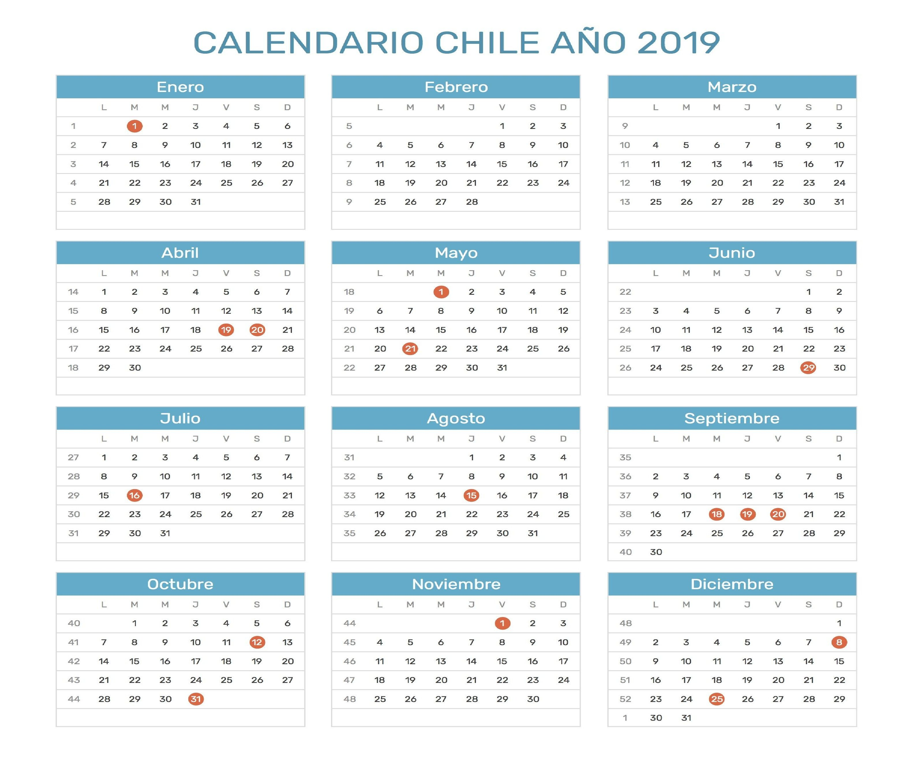 Calendario Chile 2019 Con Feriados.Calendario 2019 Chile Calendario 2019 Chile Chile