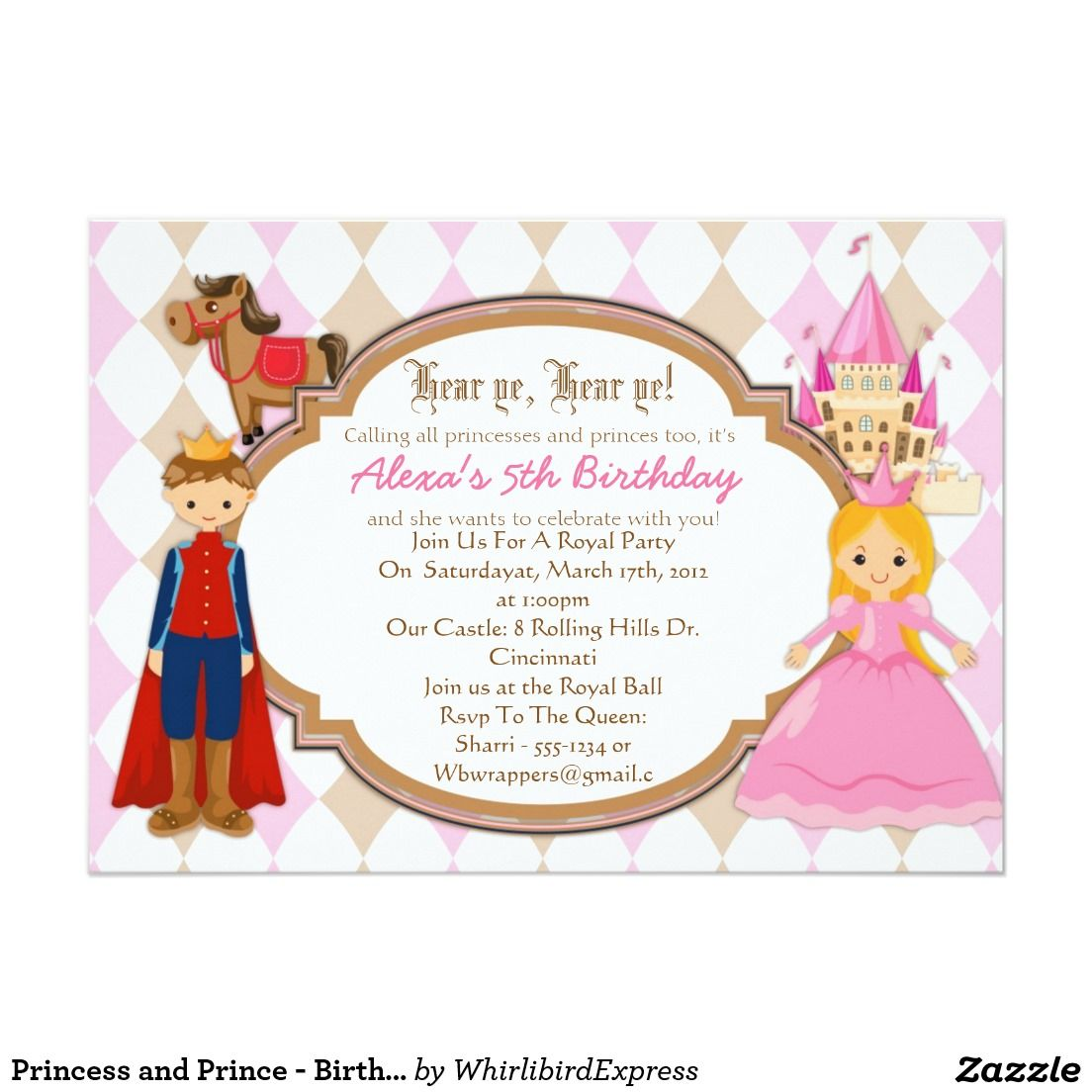 Princess and Prince - Birthday Party Invitations | party ideas ...