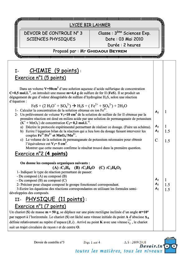 Devoir Tunisie Devoir Tn Sciences Experimentales Sciences Physiques Apprendre L Anglais Rapidement