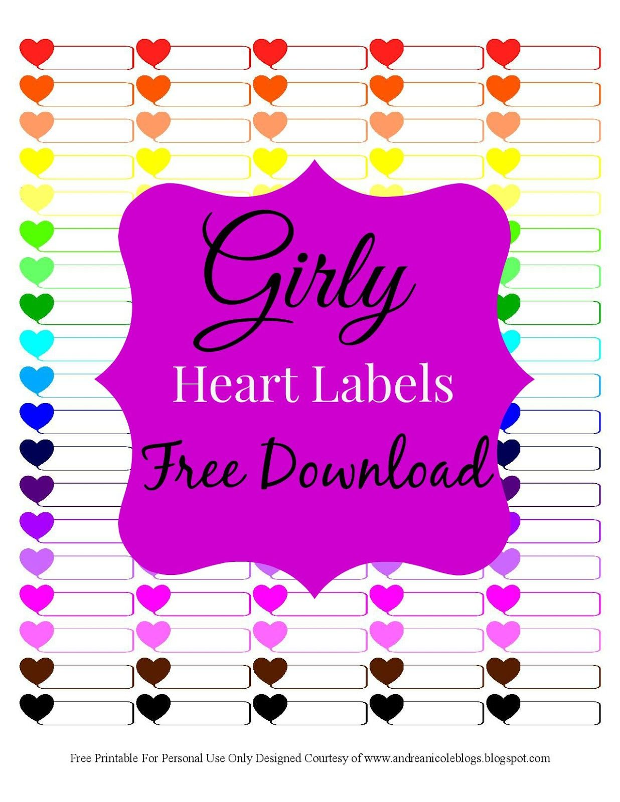 Free Printable Girly Heart Planner Labels Andrea Nicole Blogs Plannerstickers Plannerdiy