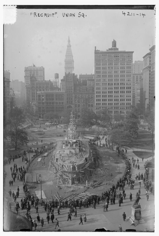 The battle ship in Union Square | Via  In 1917 the U.S. Navy built a full-size battleship in Union Square, New York. It would stay there for the next three years.    Intended as a recruitment and training center, the ship was commissioned as a normal seagoing ship, under the command of Acting Captain C. F. Pierce, and manned by trainee sailors from Newport Training Station. Internally the ship had a wireless station, full officer's quarters, doctor's quarters and examination rooms to assess…