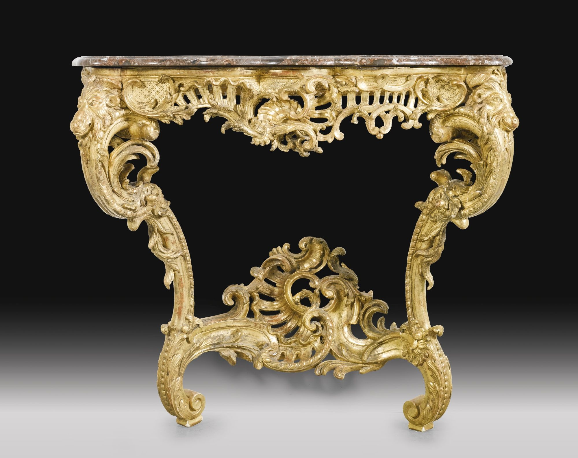 A carved giltwood console table louis xv mid 18th century a carved giltwood console table louis xv mid century geotapseo Images