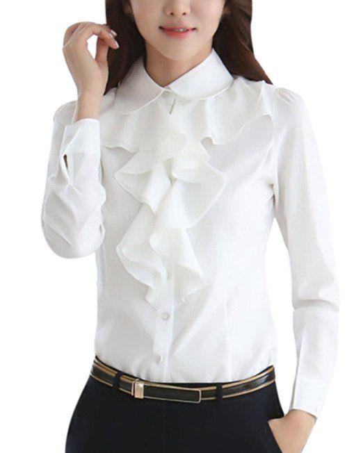 09f93d70c1 ZANZEA Women Ladies Long Sleeve Frill Ruffle Collar Blouse Sale: £9.99  http:/