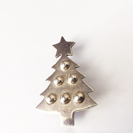 Sterling Silver Vintage Christmas Tree Pin Pendant
