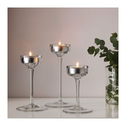 Blomster candle holder set of 3 clear glass wedding dreams candle holders ikea candle - Candele decorative ikea ...