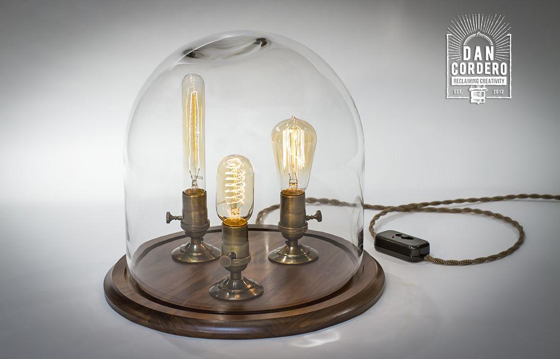 Edison Bell Jar Lamp Walnut Base Xl Dan Cordero Jar Table Lamp Jar Lamp Handcrafted Lamp